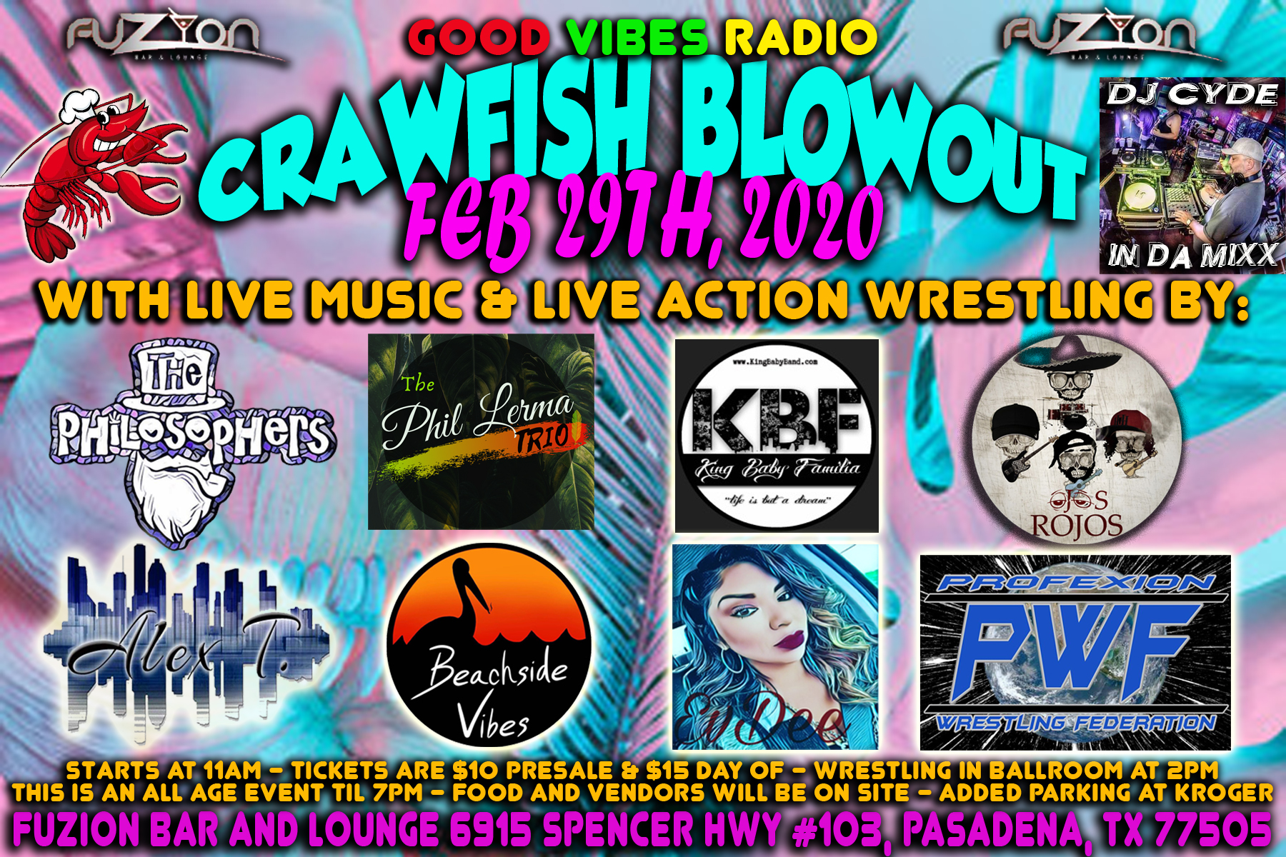 Pasadena, Tx is having a HUGE Crawfish Blowout with 7 bands, live action wrestling and plenty Mudbugs!!!